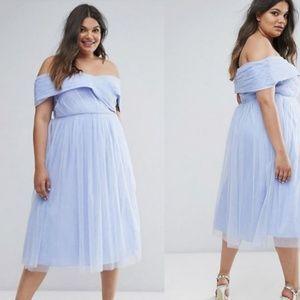 ASOS Curve Wedding Tulle Off Shoulder Midi Dress